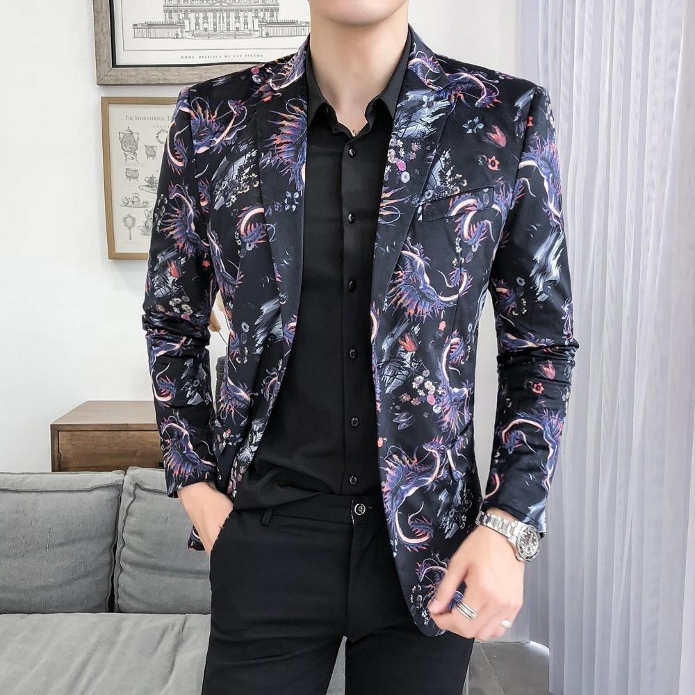 Fashion Slim Fit Blazer Masculino Mens Blazer Jacket 2019 Spring Casual Streetwear Men Blazer Night Club Prom Tuxedo Formal Wear