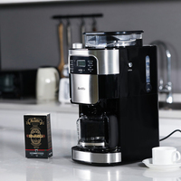 BARSETTO Household Automatic Coffee Machine Bean Flour Grinding Coffee Maker EU Plug