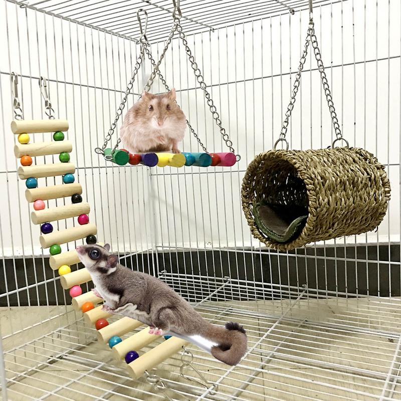 3-Piece Pet Toy Pet Ladder Swing Hammock Nest Swing Pet Hammock Pet Ladder Hamster Sugar Glider Chinchilla Squirrel Parrot