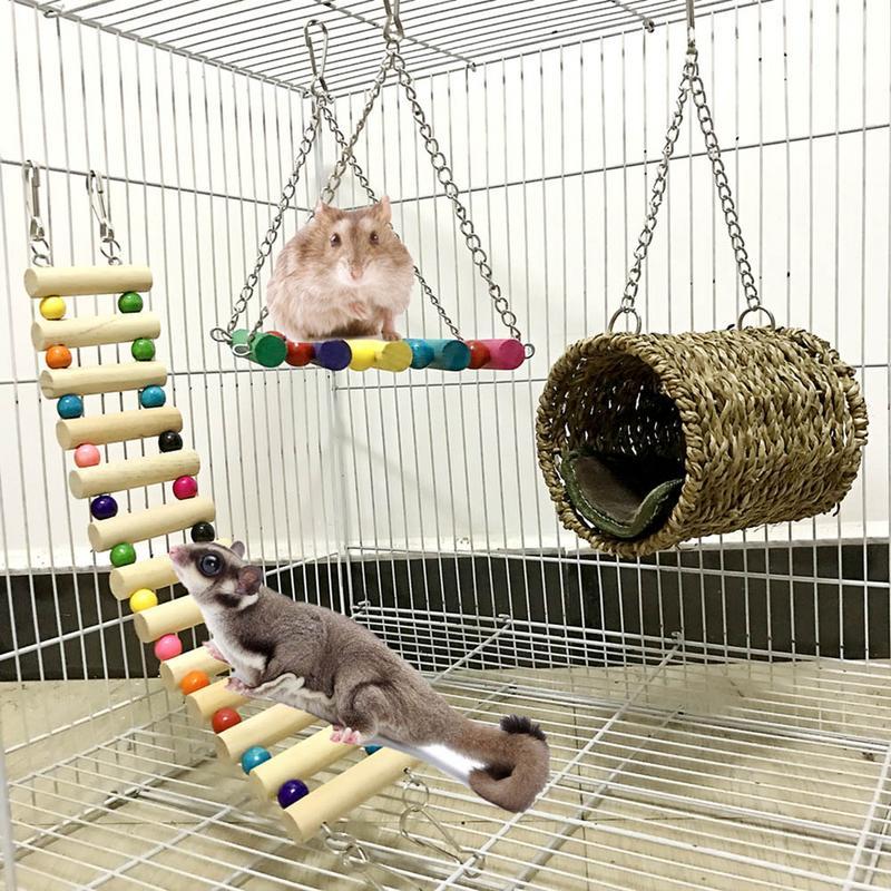 3-Piece Pet Toy Pet Ladder Swing Hammock Nest Swing Pet Hammock Pet Ladder Hamster Sugar Glider Chinchilla Squirrel Parrot(China)