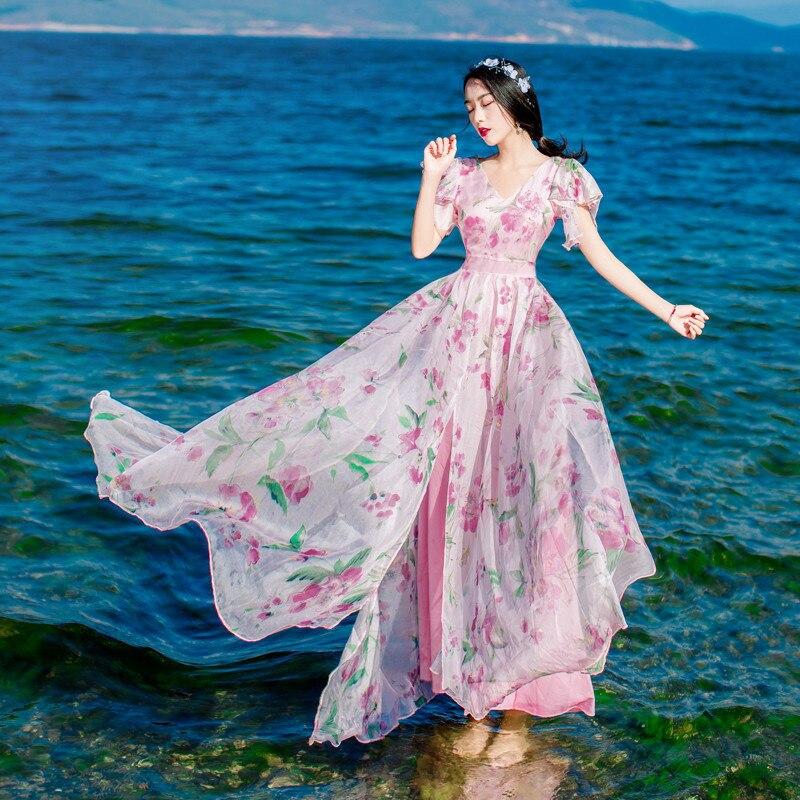 2019 printemps été robe décontracté col en V taille haute Slim fleur imprimé robe Beoho plage fête en mousseline de soie robes Vestidos