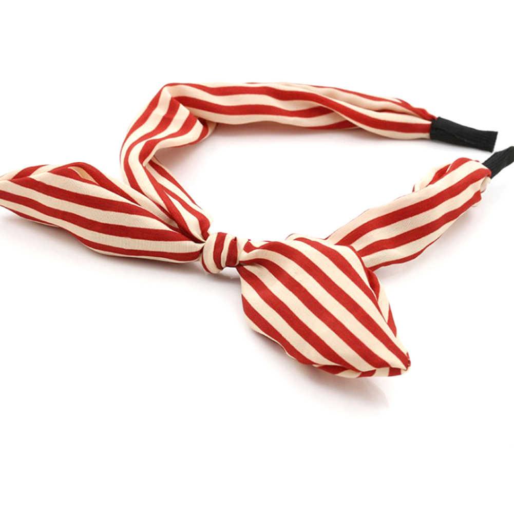 ผู้หญิงผ้าน่ารักหวาน Sweet Ribbon Bow กระต่ายหู Headbands ยืดลาย Dot ผมผมอุปกรณ์เสริมของขวัญ