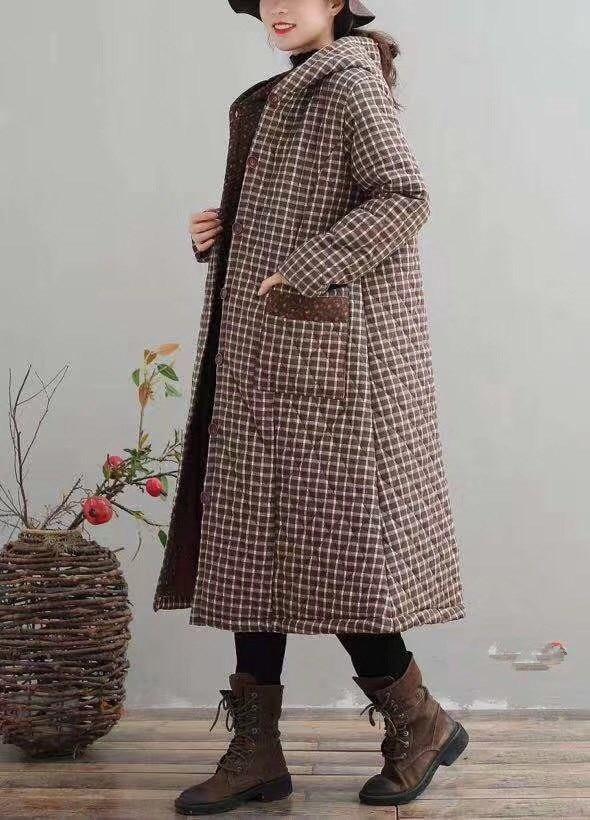 plaid Capuchon À Taille Veste Long Chaud Hiver Femmes Femelle Parkas Vintage Épaississement Plaid Plus Lin 1 Survêtement Poches 2 Manteau Coton La 6FZwxS5R