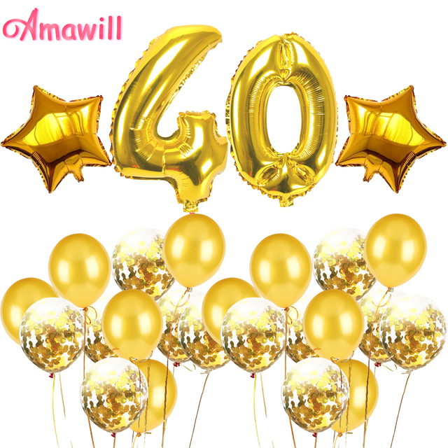 Amawill Adult 40th Birthday Decorations Party Kit Number Foil Balloon Gold Confetti Latex Balloons 40 Years Old Anniversary 8D