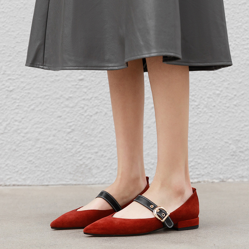 Korean Fashion Flat Shoes Ladies shoe with Buckle Strap Mixed Color New Pointed toe Sexy Vintage Shoes Woman in ShallowKorean Fashion Flat Shoes Ladies shoe with Buckle Strap Mixed Color New Pointed toe Sexy Vintage Shoes Woman in Shallow