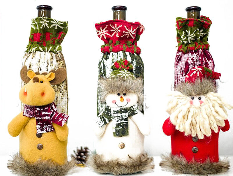 Kerst Wijnfles Cover Gebreide Tas Xmas Party Diner Tafel Decoratie Herten Covers Aantrekkelijk En Duurzaam