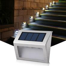 3 LEDs Solar schody lampa wodoodporna ze stali nierdzewnej na zewnątrz ogród energia słoneczna oszczędzania energii światła dziedziniec ścieżka kinkiet tanie tanio ROHS STAINLESS STEEL Żarówki led Nowoczesne Brak solar light solar lamp Awaryjne Konesky