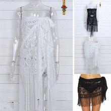 Black-and-white multi-purpose bikini shirt skirt trousers top shawl hollow lace lady dress