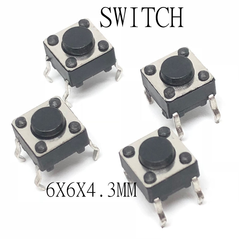 100 pces 6*6*4.3 painel pcb momentâneo tátil botão de pressão micro interruptor 4 pinos dip luz toque 6x6x4.3mm teclas teclado