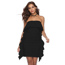 MUXU vestido sexy ruffle dress fashion backless vestidos mujer sukienka summer  women clothing kleider party patchwork