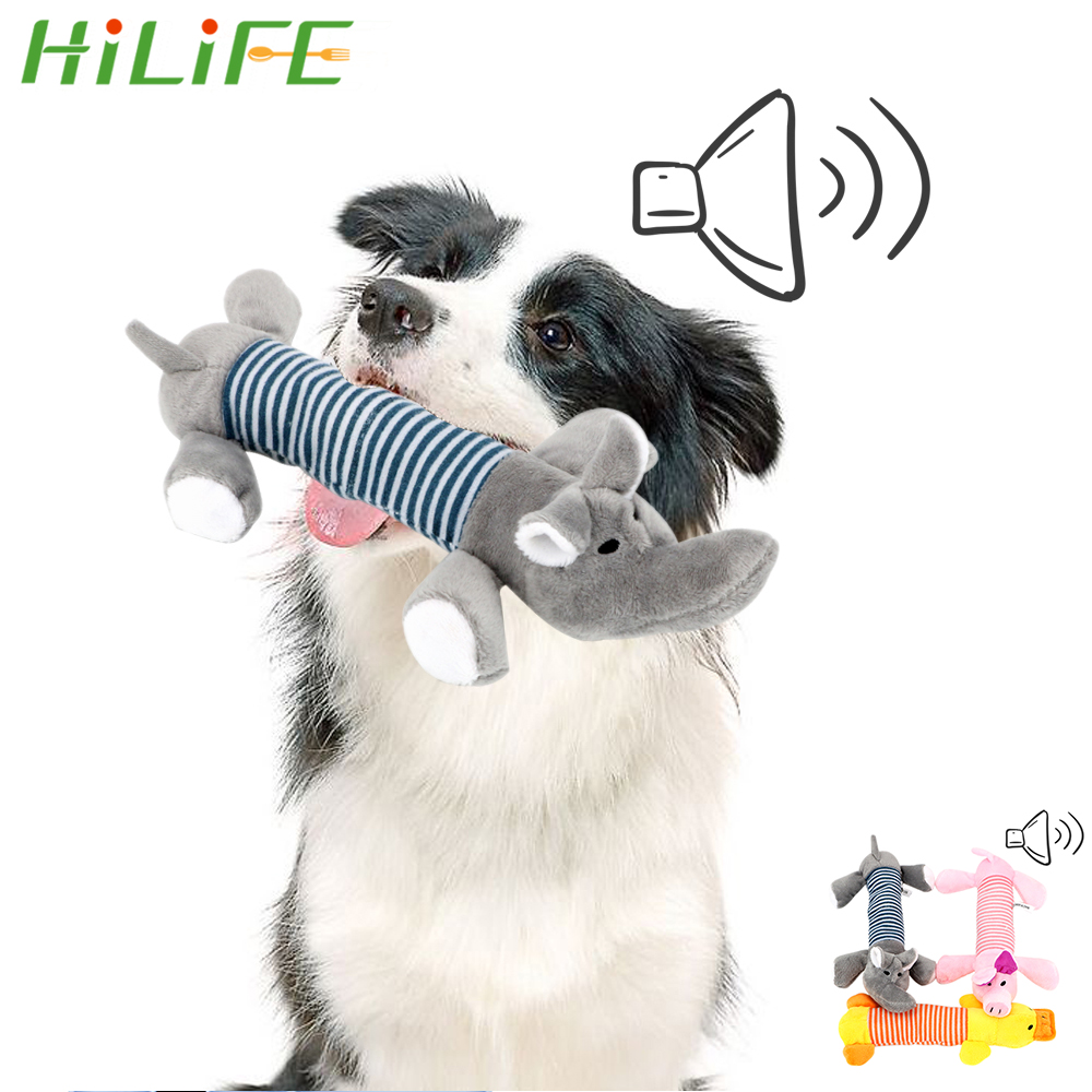 HILIFE Funny Plush Toys Dog Cat Fleece Toys Durability Squeak Chew Sound Dolls Elephant Duck Pig Fit for All Pets Pet Products(China)