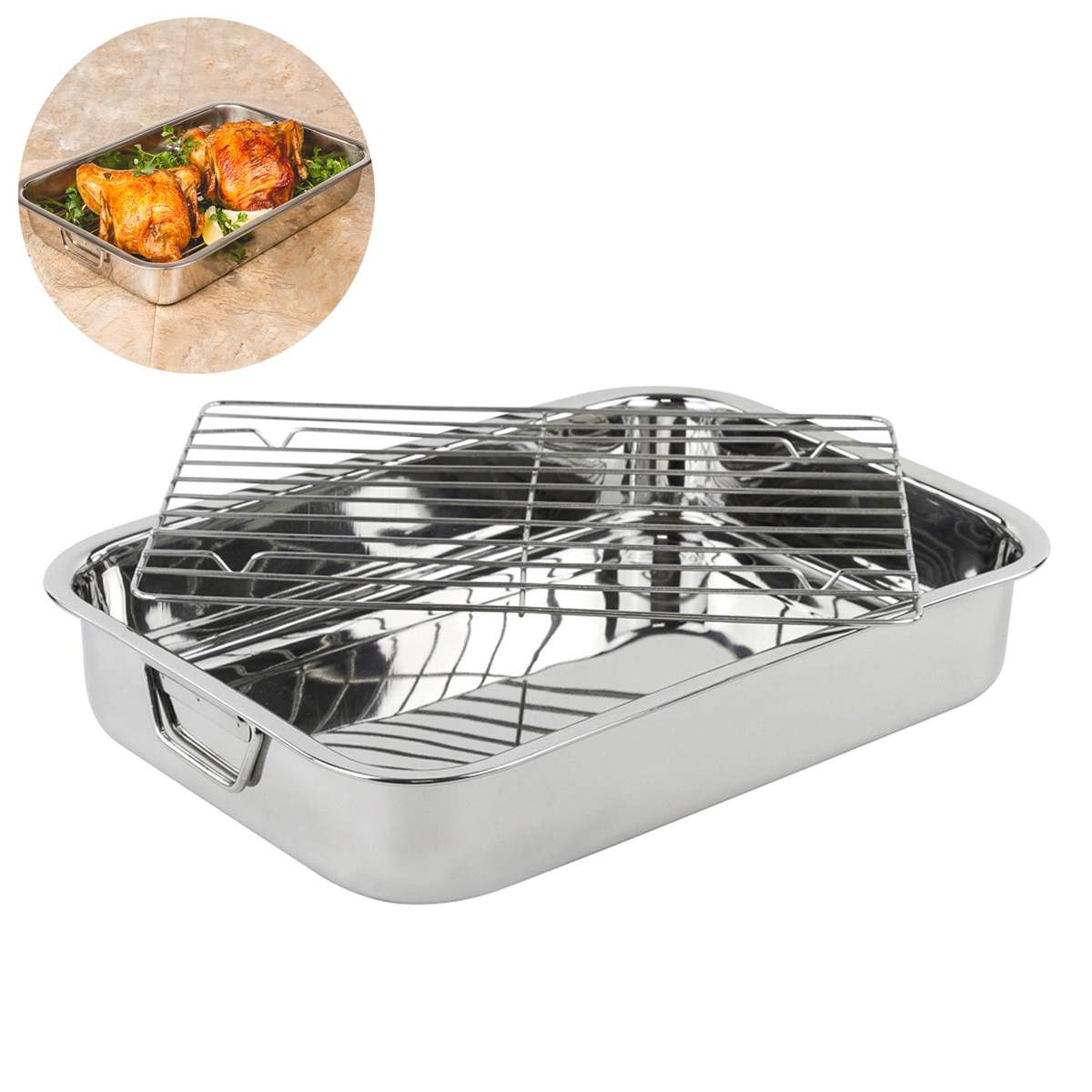 Large Stainless Steel Roasting Lasagna Pan Meat Roaster with Rack Baking Pan Dishes Kitchen Cooking Tools BBQ Accessories Set|  - title=