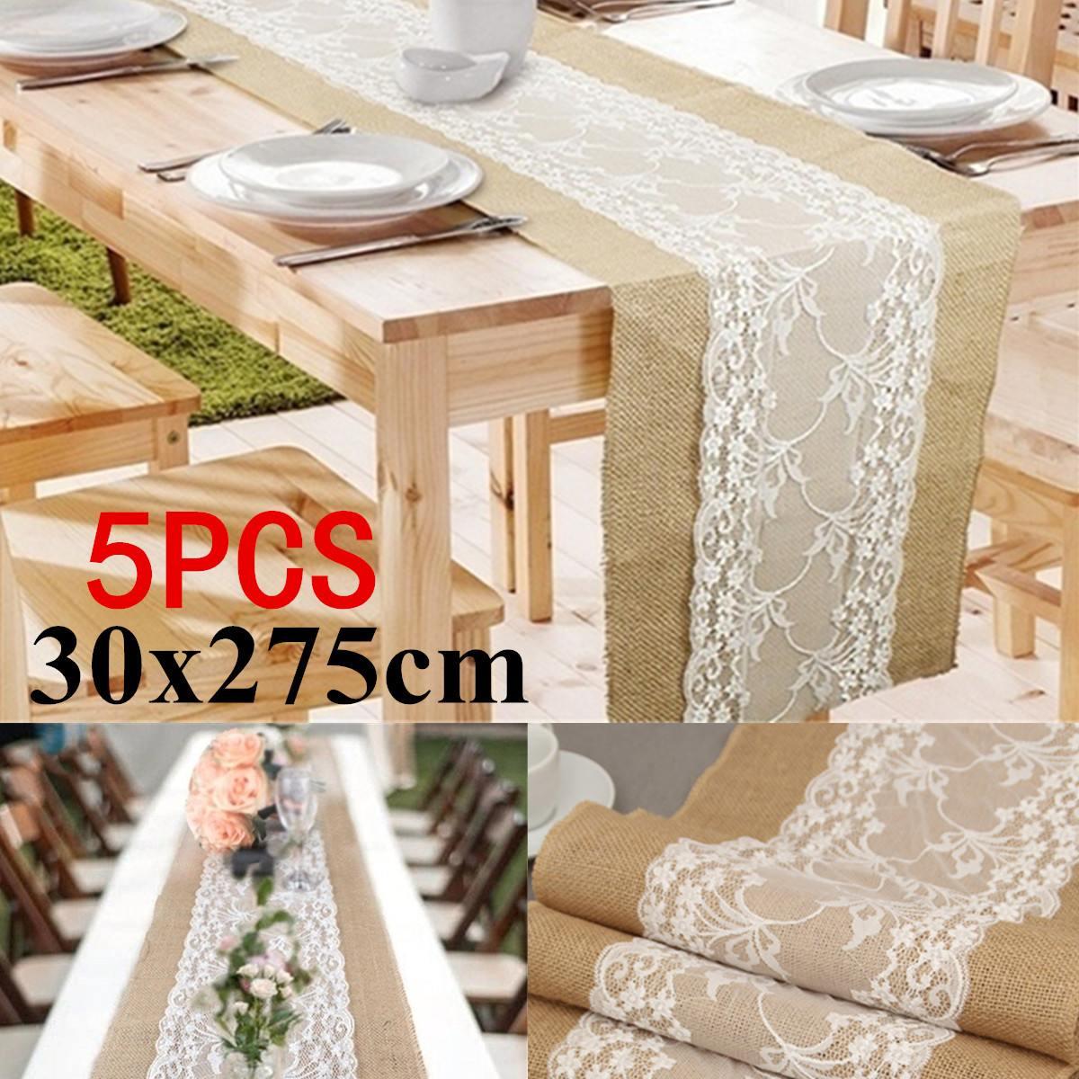 5 pièces 30 cm x 275 cm chemin de Table de mariage blanc dentelle chemin de Table Floral nappe Boho mariage Table décoration maison Textile