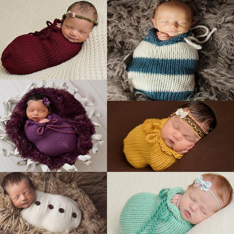Newborn Photography Props Baby Knitted Sleeping Bag Handmade Crochet Bag Knit Wrap Baby Photo Props Fotografia Accessories