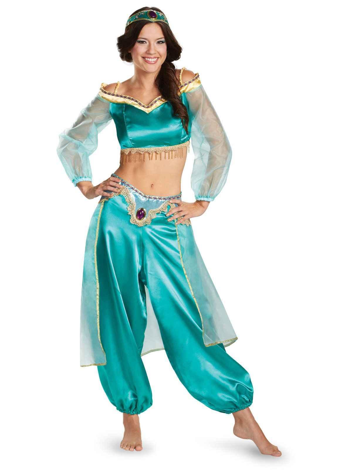 eb11a96424ed Adult Aladdin Princess Genie Jasmine Prestige Costume Arabian Belly Dance  Fancy Dress