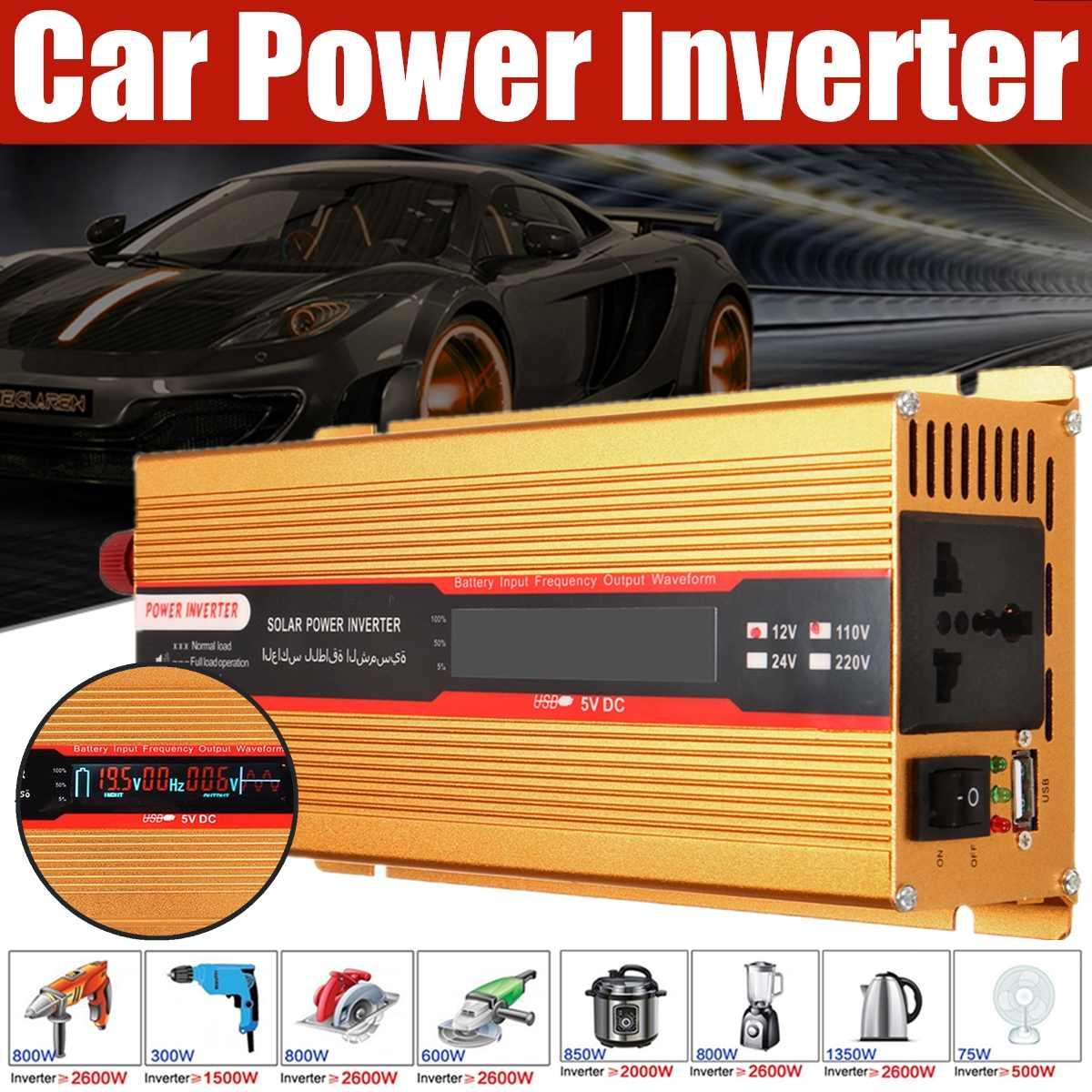 Chargeur d'adaptateur de convertisseurs solaires d'inverseur de puissance de voiture 3000 W 12/24 V à onde sinusoïdale modifiée par AC 220/110 V pour l'accès de voiture de Camping à la maison