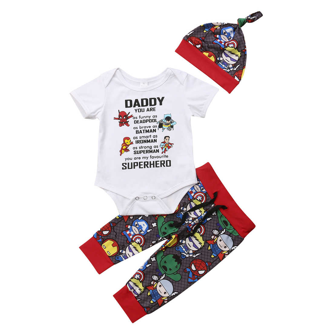 0-18M Daddy Superhero Newborn Kid Baby Boy Girl Clothes set Cotton Cute top and pants superman batman spiderman Clothing outfit