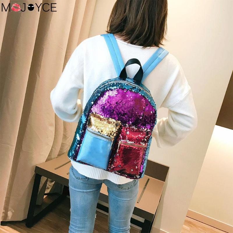 Color Patchwork Sequins Leather Backpack For Women Shiny Travel Bags Glitter Satchel Fashion Shoulder Back Pack Mochila Feminina