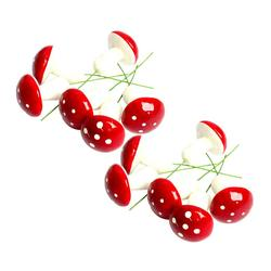 12PCS Cute Small Mushroom Christmas Tree Ornament Xmas Hanging Pendants for Home Party DIY Decoration (Red) 5