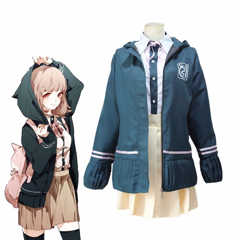 Danganronpa 2 Nanami ChiaKi Cosplay Costume Dangan Ronpa Full Set Cosplay School Uniform with Wigs Girls Sailor Suit Party Dress