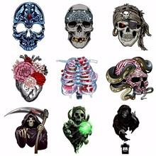 Pulaqi Punk Style Skull Iron-on Transfer Patch Heat Vinyl Clothing Bikers Sticker Cool Accessory For Coat DIY Decor H