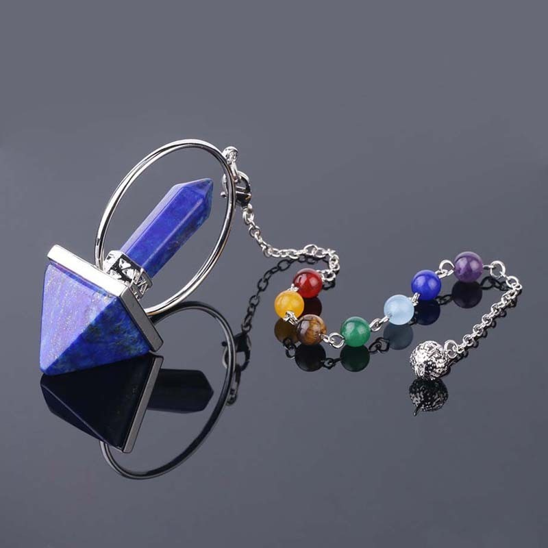 7 Chakra Natural Stone Pendulum For Dowsing Hexagonal Prism Pyramid Reiki Healing Natural Stone Amulet Healing Aura Supplies in Pendants from Jewelry Accessories