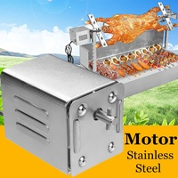 15W 70kgs Pig Lamb Goat Chicken Charcoal BBQ Grill Outdoors Roaster Spit Rotisseries Cooking Electric Motor Stainless Steel