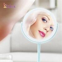 Usb led 메이크업 거울 휴대용 라운드 여성 얼굴 메이크업 화장품 데스크탑 화장품 거울 usb 케이블 또는 4 * aa 배터리|탁상 램프|   -