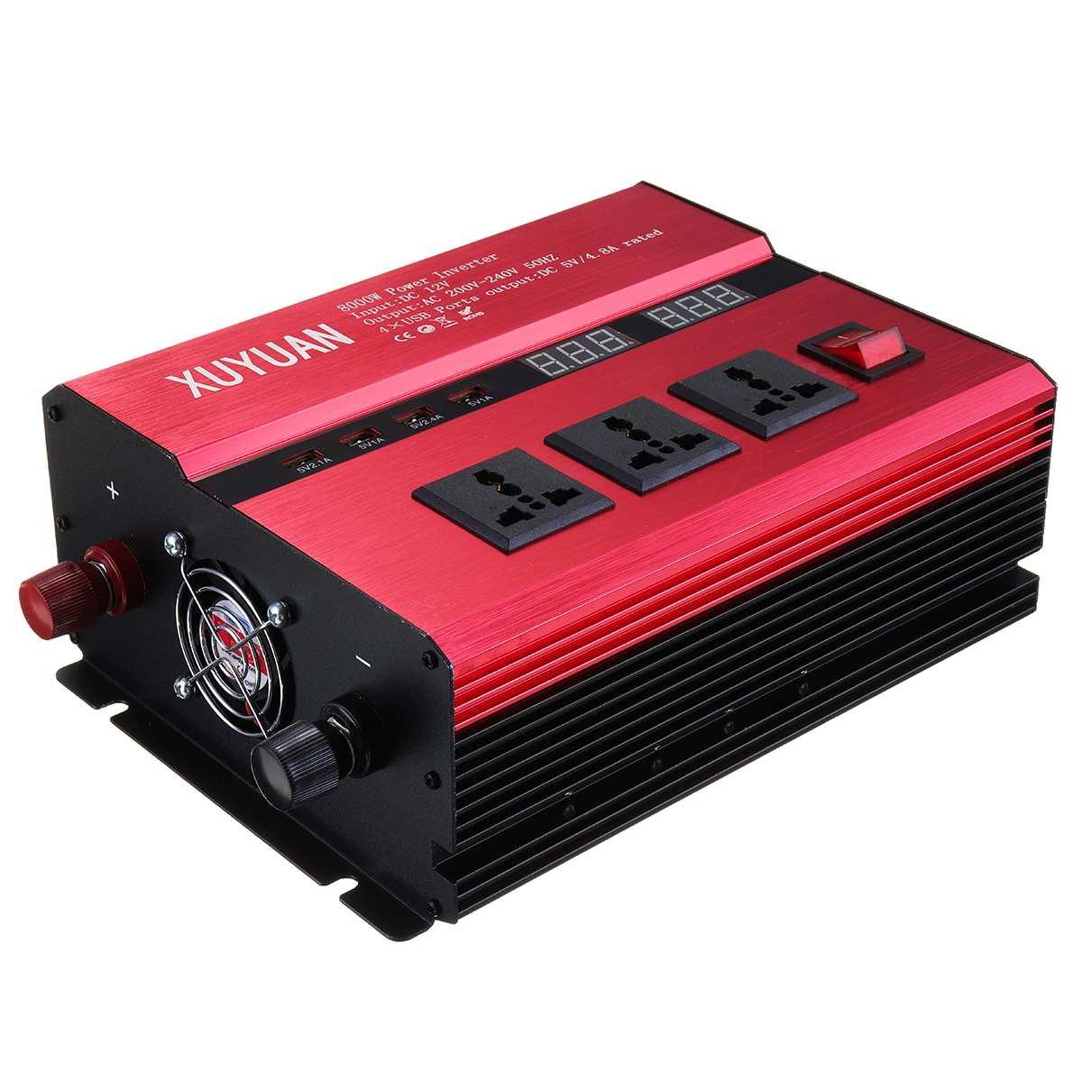 KROAK DC 12 V/24 V Zu AC 220 V/110 V Solar Power Inverter 8000 W LED power Sinus Welle Konverter für auto und lkw