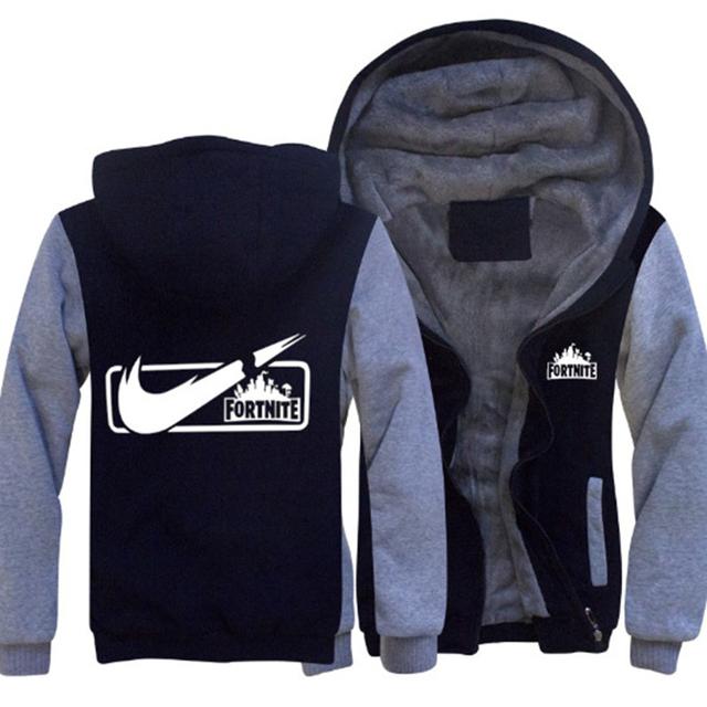 Game Fortnite Battle Royal Hip Hop Men thick Fur warm Hoodie sudadera Streetwear printing Punk Rock Sweatshirt Pullover