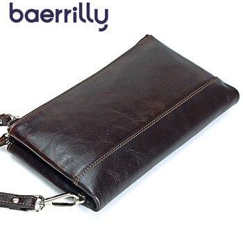 Yüksek kapasiteli Hakiki Deri Erkek Cüzdan Uzun el çantası Erkek Kullanışlı bozuk para cüzdanı Kart Sahipleri Cep telefon cebi Billetera Hombre