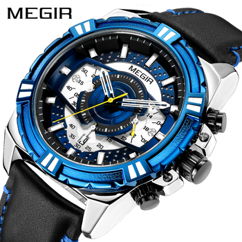 3aa340a13b64 Reloj MEGIR relojes para hombre marca de lujo reloj de cuarzo de los hombres  casuales impermeable deporte cronógrafo reloj Masculino Erkek Kol Saati