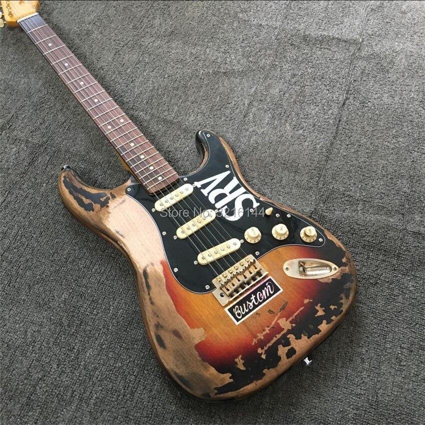 Em estoque relíquia permanece guitarra elétrica, artesanal srv envelhecido relíquia guitarra elétrica com corpo alder, vintage sunburst, frete grátis