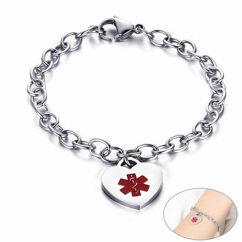 Medical Alert Braccialetti per Le Donne di Cuore In Acciaio Inox ID di Fascino Polso Usura Quotidiana Accessori 7.48""