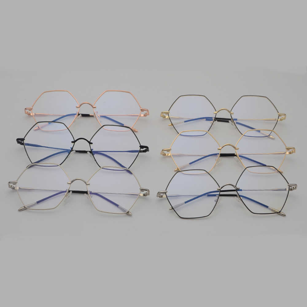 935778faf7fe ... Kachawoo Vintage Hexagon Eyeglasses Frames Men Clear Lens Gold Metal  Fashion Glasses Women Optical Unisex Birthday ...