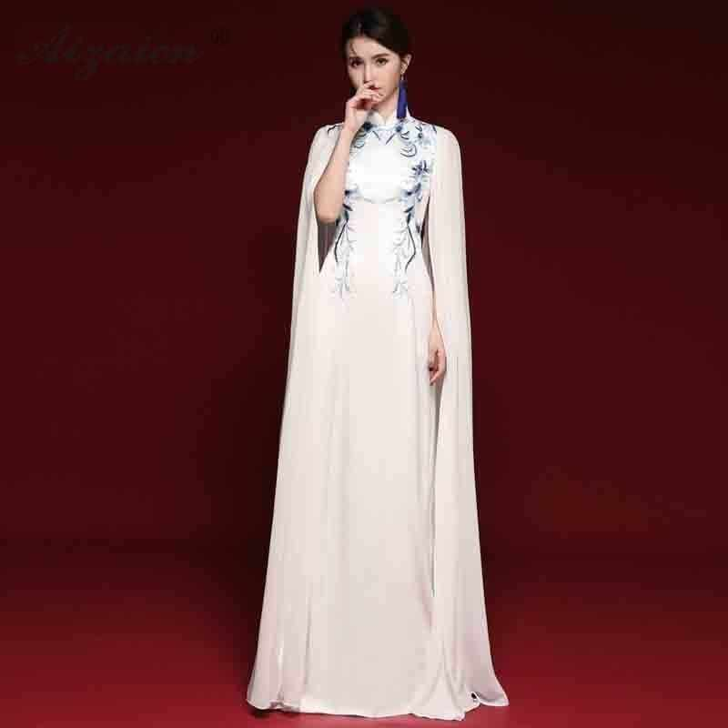 New Fashion Blue White Cheongsam Long Dresses Chiffon Embroidery Qi Pao Women One Shoulder Traditional Dress Go Show Gown Qipao