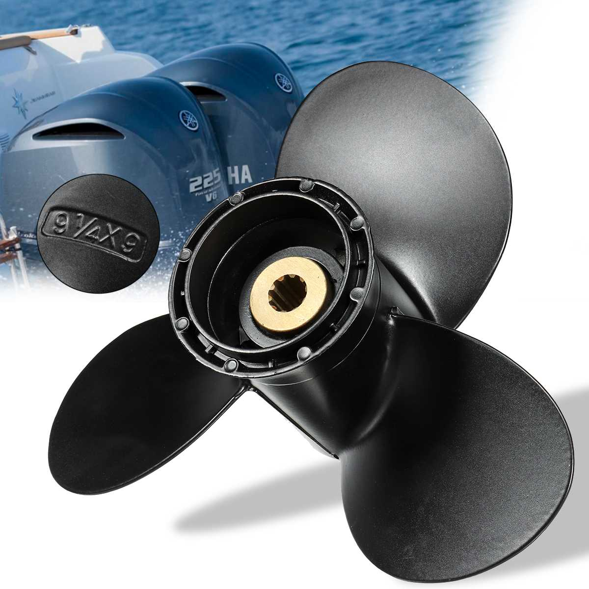 Outboard Propeller 58100-93723-019 Fit For Suzuki 8-20HP 9 1/4 x 9 Boat Aluminum Alloy 3 Blades R Rotation Black 10 Spline ToothOutboard Propeller 58100-93723-019 Fit For Suzuki 8-20HP 9 1/4 x 9 Boat Aluminum Alloy 3 Blades R Rotation Black 10 Spline Tooth