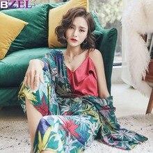 Phong để lại thu Xuân Nữ Pyjama Set 3 mảnh ngủ bộ hàng ngày Đồ Ngủ Trong nhà Mặc Áo Vải Cotton Cổ Chữ V Vintage Home quần áo