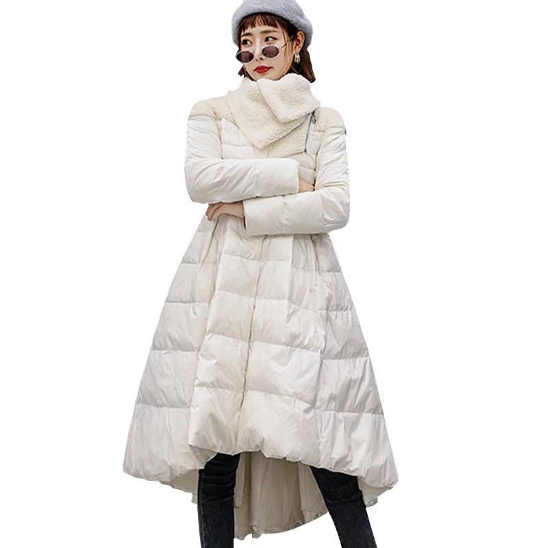 New Long Women Jacket Windproof Winter Slim Down Cotton Coat Irregular Umbrella Fashion Elegant Shawl Collar Uk Lady   Parka   HJ46