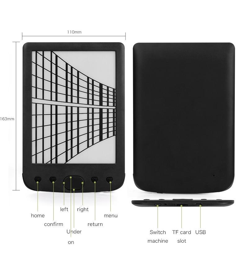 Claite 8G BK-6025 2500 mah lecteur e-book e-ink 6 pouces résolution eBook lecteur mémoire ebook (lumière frontale intégrée) - 3