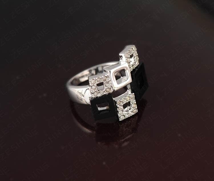 ring مجوهرات أزياء خواتم كريستال هندسية روز الذهب / فضة حلقات سيدة عربية