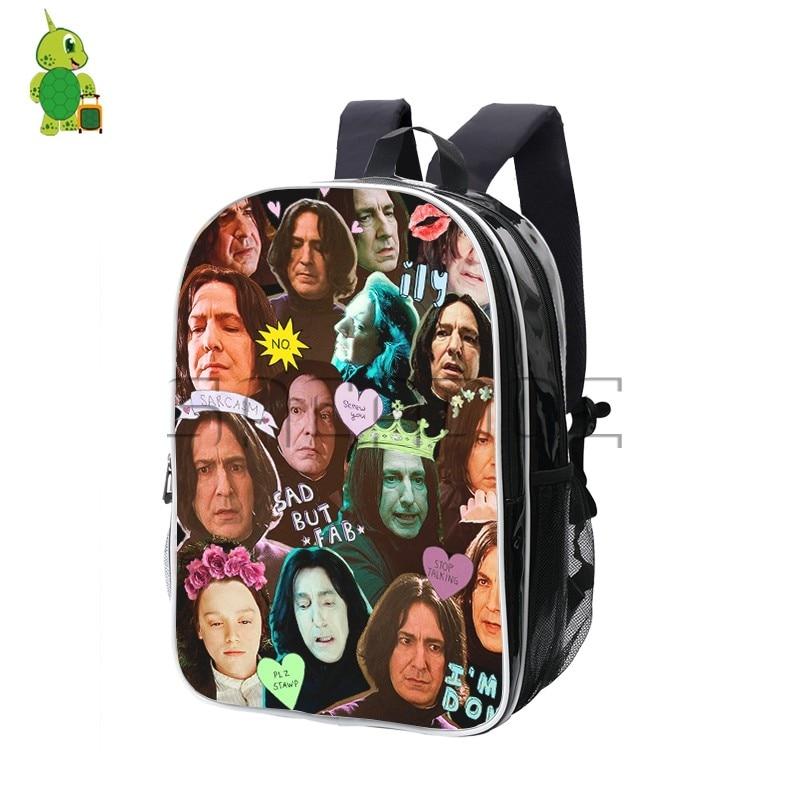 Hogwarts Severus Snape Overlay Backpack PU Leather Travel Rucksack School Bags for Teenagers Boys Girls Laptop