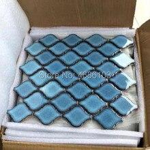 Роскошные Синие мозаичные плитки, водостойкие керамические мозаичные плитки, украшения, 15 шт, размер 280x245 мм, сетчатая Подложка для ванны/туалета