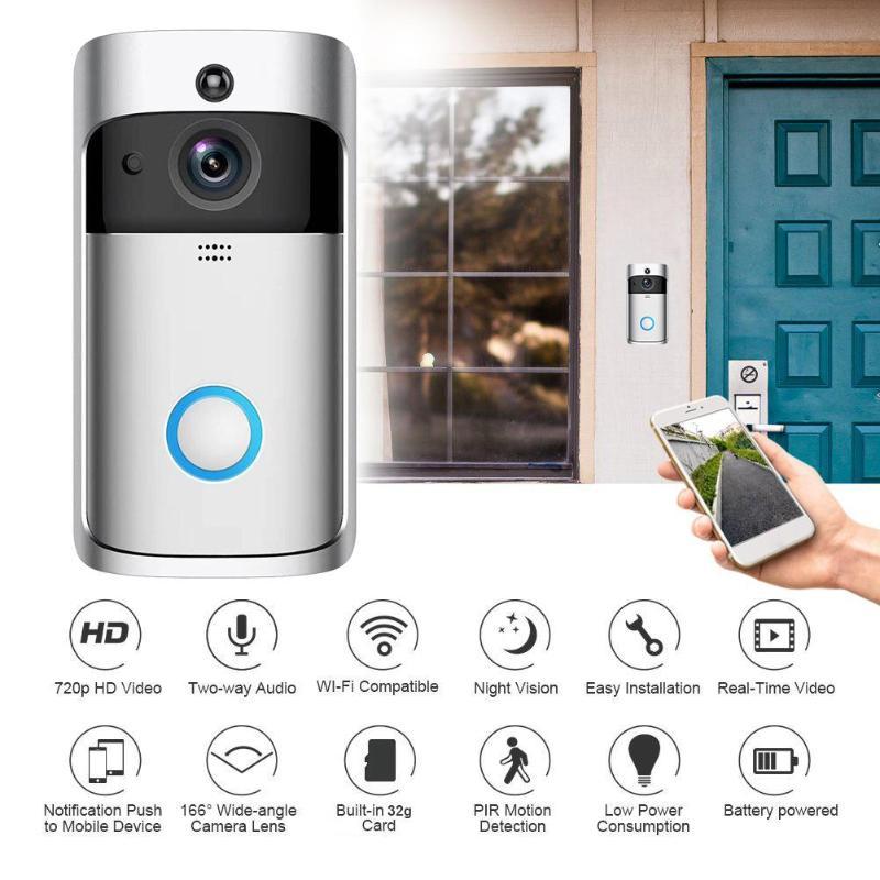 V5 Visual WiFi Smart Doorbell 2 Way Talk 720P 1MP Camera PIR Motion Sensor IR Night Vision Door Phone IntercomV5 Visual WiFi Smart Doorbell 2 Way Talk 720P 1MP Camera PIR Motion Sensor IR Night Vision Door Phone Intercom