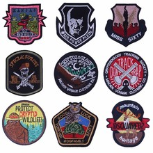 Pulaqi Punk Bikers Embroidery Patches Skull Angel Wings Appliques Landscape Eagle Deer Stickers DIY Clothes Accessory Parches H