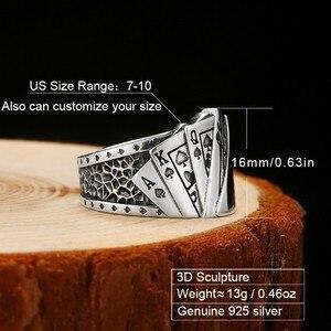 Image 2 - Zabra poker anel sólido 925 prata rock punk anéis para homens feminino preto signet jóias tamanho ajustável 7 a 10 pode cutomize tamanho
