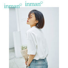 INMAN 2019 Summer New Arrival Solid Cotton O-neck Loose All Matched Slim Half Sleeve Women T-shirt