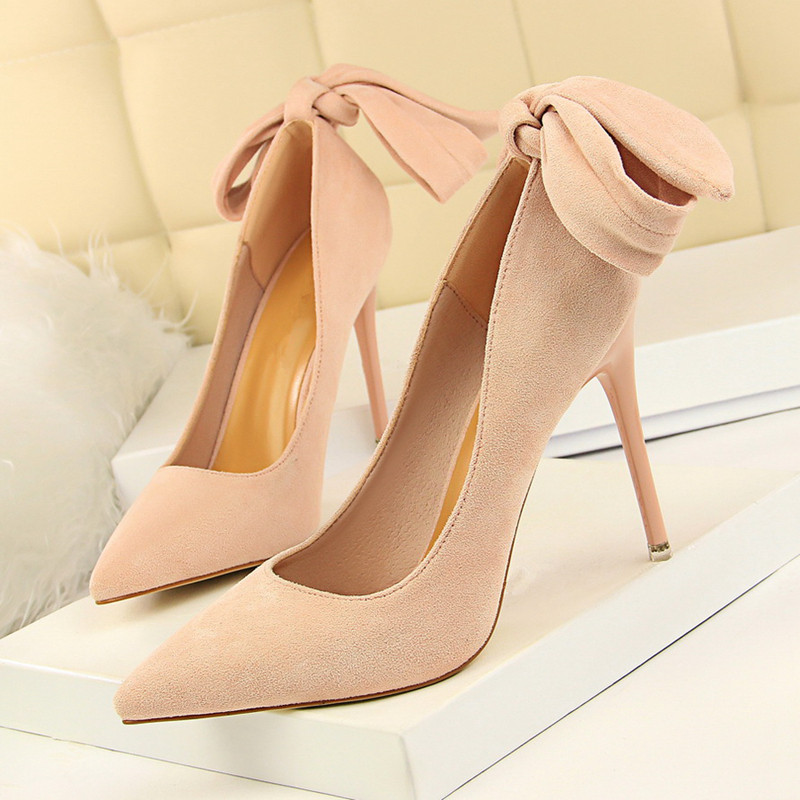 Office Shoes Womens Sexy High Heels Party Shoe Pumps Woman Stiletto Butterfly-knot Green DS-A0165