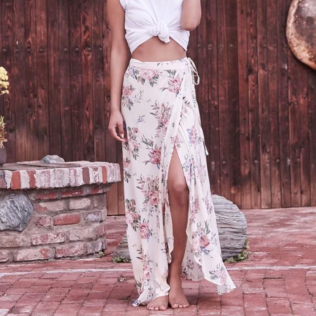 f2b3a23ed476 Rose Floral Vintage Bohemian Summer 2019 Maxi Skirt Women Sexy High Waist  Split Boho Long Wrap Skirt Beach Skirts Womens Faldas