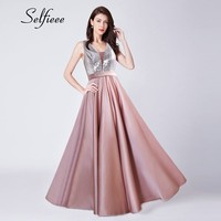 New Fashion Pink Sexy Dress Women A Line V Neck Backless Sequined Party Dress High Quality Long Maxi Dresses 2019 Robe Femme